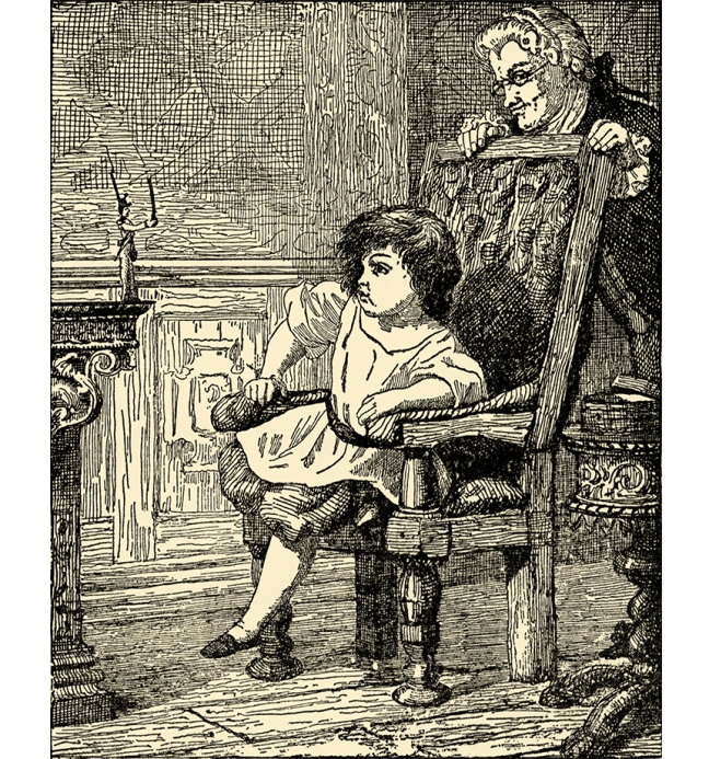 "Illustration:  THE TIN SOLDIER COMPLAINS TO THE LITTLE BOY.  From the story ""The Old House.""  Andersen's Fairy Tales.  Henry Altemus Company: Philadelphia. Ca 1920."