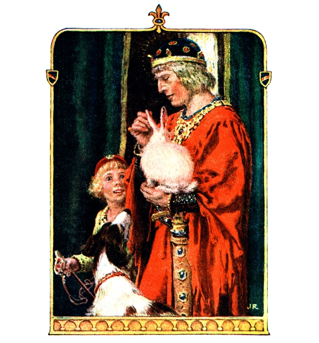 "Illustration:  The Good King took it to his Palace.  From the story ""Prince Darling.""  Fairy Tales From France   Retold by William Trowbridge Larned.   Illustrations by John Rae.   Wise Book Company: New York. Ca 1920."