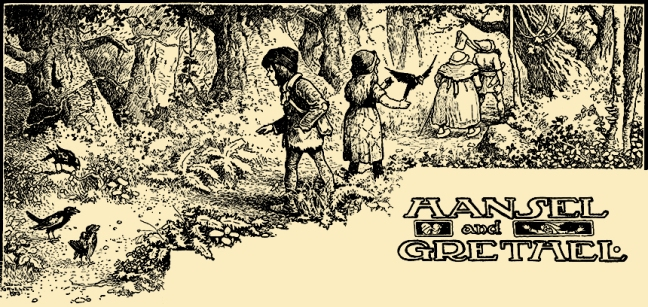 Illustration:  HANSEL AND GRETHEL.  Grimm's Fairy Tales.  Translated from the German By Margaret Hunt.  Illustrated By John B. Gruelle.  Cupples and Leon Company: New York. Ca 1914.