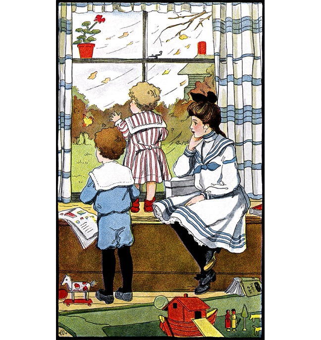 Illustration:  Rainy Day  In The Miz.  Written by Grace E. Ward.  Illustrations by Clara E. Atwood.  Little, Brown, & Co.: Boston. 1904.