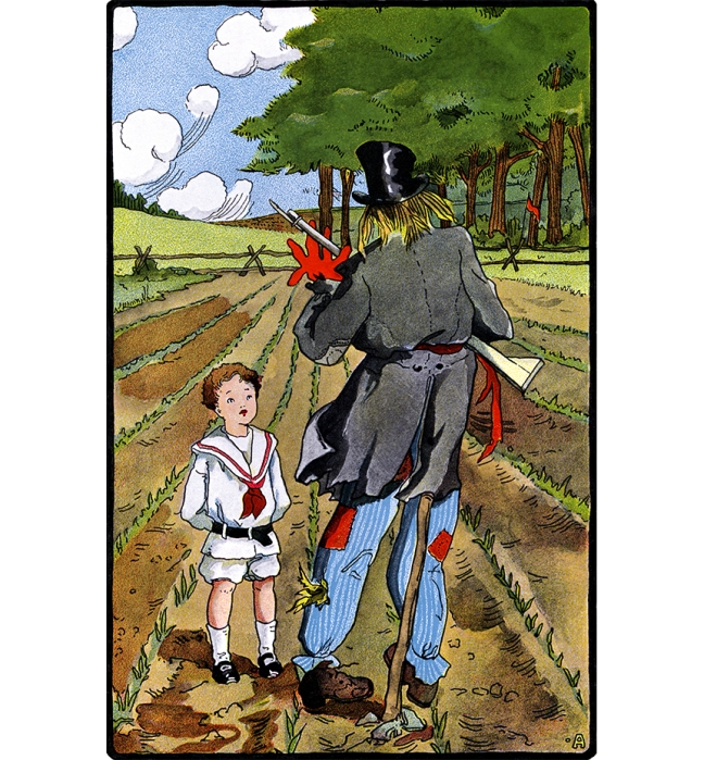 Illustration:  Scarecrow.  The Three Bears' Picture Book.  Illustrated by Walter Crane.  George Routledge and Sons: London & New York.