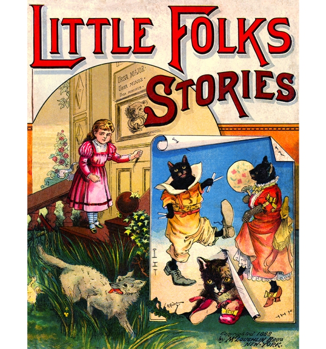 Illustration:  LITTLE FOLKS STORIES.  (Cover Art}  McLoughlin Bro's: New York. 1888.