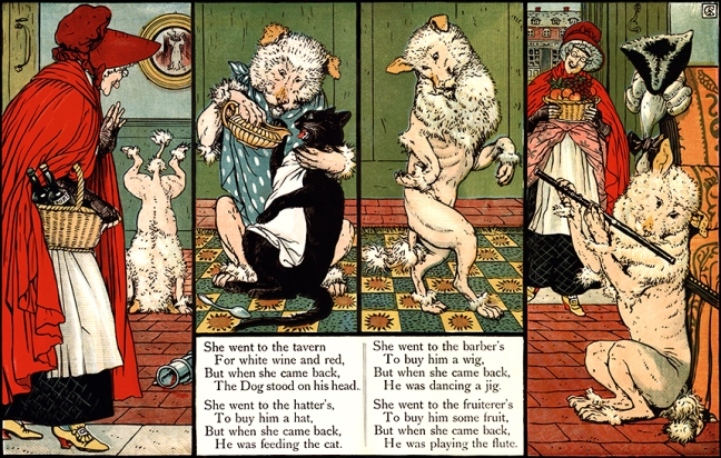 Illustration:  MOTHER HUBBARD.  Walter Crane's Picture Books Re-Issue  John Lane  The Bodley Head: London & New York. 1897.