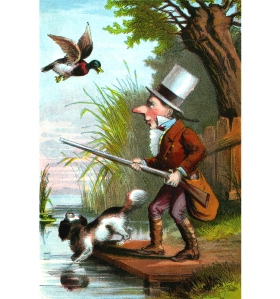 Illustration: The Little Man And His Gun. NURSERY COLORED PICTURE BOOK. McLOUGHLIN BROS.: NEW YORK. Ca 1870.