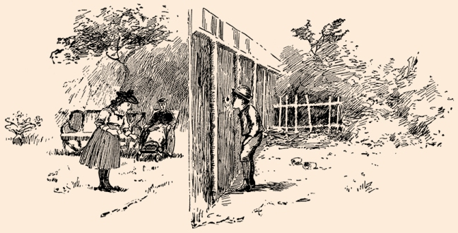 "Illustration:  TED HAS A WICKED THOUGHT.  From the story ""THE KNOT-HOLE IN THE FENCE.""  Prattles For Our Boys and Girls.  Hurst & Co.: New York. 1912."