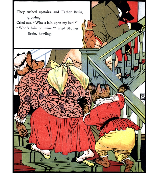 Illustration:  They Rushed Upstairs.  The Three Bears' Picture Book.  Illustrated by Walter Crane.  George Routledge and Sons: London & New York.