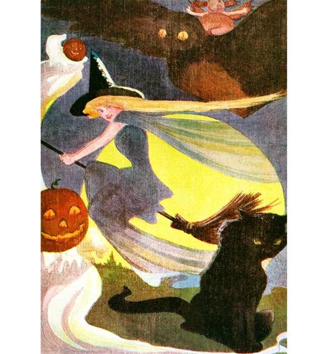 Illustration:  Hallowe'en.  A Year With the Fairies.  Written by Anna M. Scott.  Illustrations by M. T. (Penny) Ross.  P. F. Volland & Co.: Chicago, U.S.A. 1914.