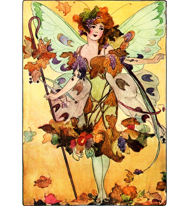 Illustration:  Lady Fall.  A Year With the Fairies.  Written by Anna M. Scott.  Illustrations by M. T. (Penny) Ross.  P. F. Volland & Co.: Chicago, U.S.A. 1914.