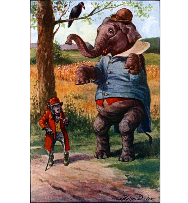 "Illustration:  Mr. Elephant Toddled.  From the story ""WHEN MR. ELEPHANT TRIED TO BE A MAN.""  Billy Goat's Story  By Amy Prentice.  Illustrations by J. Watson Davis.  A. L. Burt Company: New York. Ca 1906."
