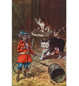 Illustration: A regular old pirate rat came out, dressed as if he was going to a party. Billy Goat's Story By Amy Prentice. Illustrations by J. Watson Davis. A. L. Burt Company: New York. Ca 1906.