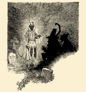 """Illustration: """"Stupid Devil,"""" cried the soldier, """"it won't do!. . ."""" THE GRAVE-MOUND. Grimm's Fairy Tales. Translated from the German By Margaret Hunt. Illustrated By John B. Gruelle. Cupples and Leon Company: New York. Ca 1914."""