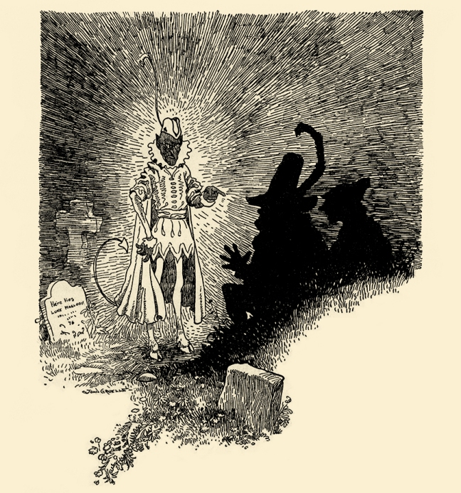 "Illustration:  ""Stupid Devil,"" cried the soldier, ""it won't do!. . .""  THE GRAVE-MOUND.  Grimm's Fairy Tales.  Translated from the German By Margaret Hunt.  Illustrated By John B. Gruelle.  Cupples and Leon Company: New York. Ca 1914."