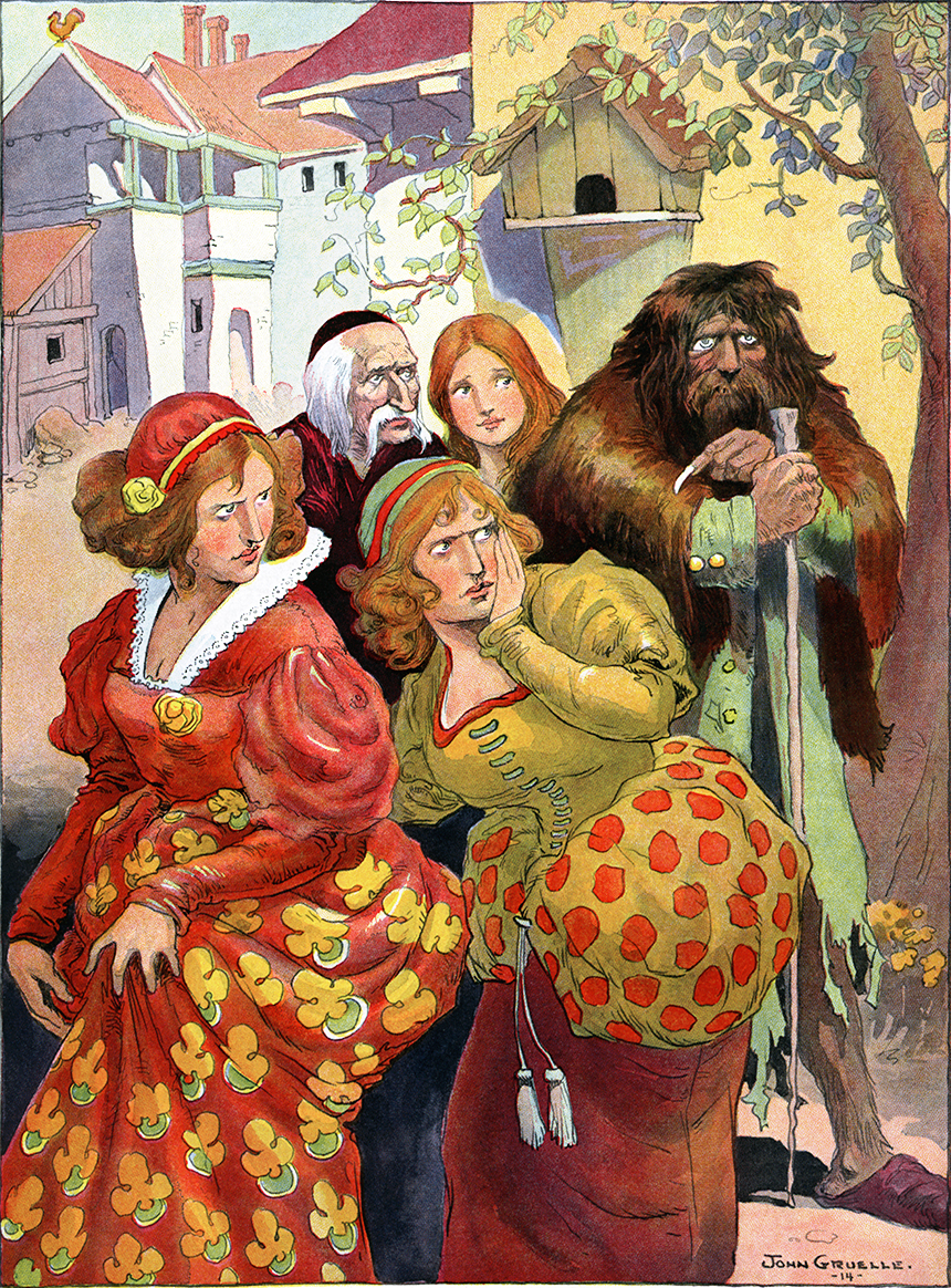 Illustration:  BEARSKIN  Grimm's Fairy Tales.  Translated from the German By Margaret Hunt.  Illustrated By John B. Gruelle.  Cupples and Leon Company: New York. Ca 1914.