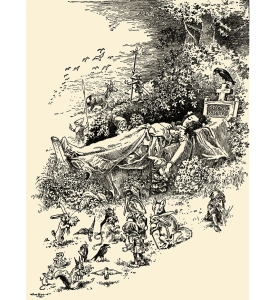 Illustration: SNOW-WHITE AND ROSE-RED. Grimm's Fairy Tales. Translated from the German By Margaret Hunt. Illustrated By John B. Gruelle. Cupples and Leon Company: New York. Ca 1914.