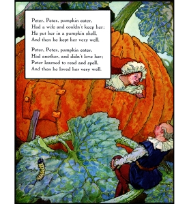 Illustration: Peter, Peter, Pumpkin Eater. Mother Goose Volland Popular Edition. Edited by Eulalie Osgood Grover. Illustrated by Frederick Richardson. Published by P. F. Volland Company: New York, Chicago & Toronto. 1921.
