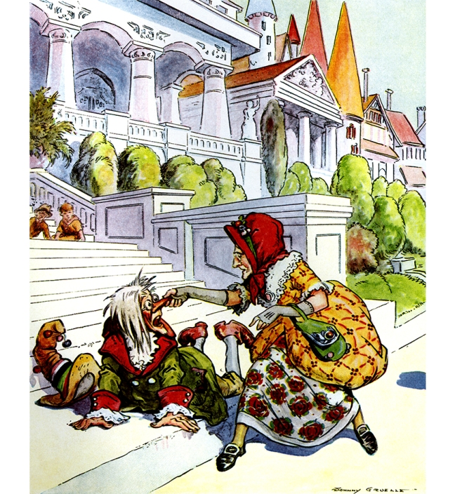 Illustration:  Catching his long nose in her hands she gave it a tweak.  The Magical Land of Noom  Written and Illustrated by Johnny Gruelle.  M. A. Donohue & Company: Chicago and New York. Ca 1922.