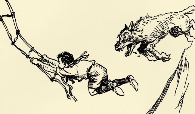 Illustration:  Leap Before You Look.  The Magical Land of Noom.  Written and Illustrated by Johnny Gruelle.  M. A. Donohue & Company: Chicago and New York. Ca 1922.  Wolf, Vine Bridge