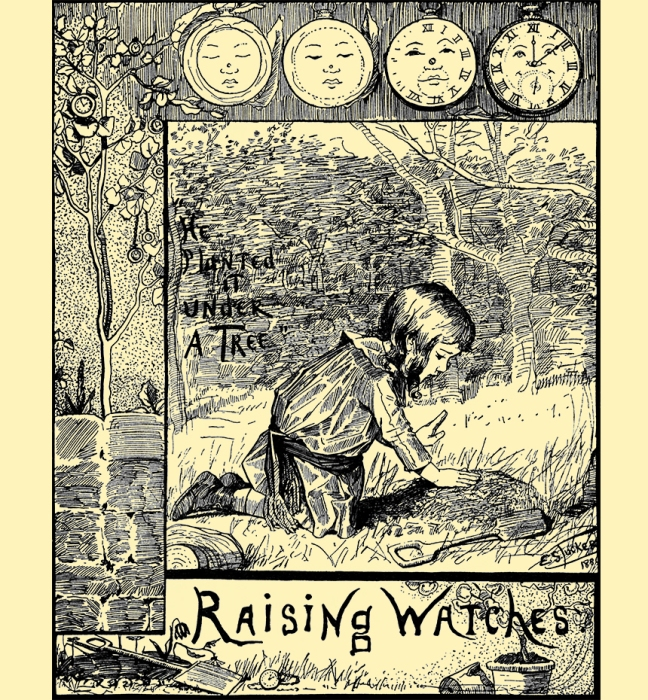 Illustration:  He Planted It Under A Tree.  Raising Watches.  Tom Thumb and Other Stories.  McLoughlin Brothers: New York. Ca 1904.