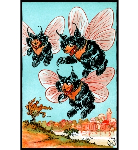 Illustration: He saw flying to meet him several shaggy bears. Billy Bounce. By W. W. Denslow and Dudley A Bragdon. Pictures by Denslow. G. W. Dillingham Co. Publishers: New York. 1906.