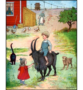 Illustration: FIVE HAPPY DAYS THE CHUMS SPENT HERE, EATING, DRINKING, PLAYING WITH THE CHILDREN. Billy Whiskers, Jr. and His Chums. By Frances Trego Montgomery. Illustrated by Hugo von Hofsten. The Saalfield, Publishing Company: Chicago, Akron, Ohio & New York. 1907.
