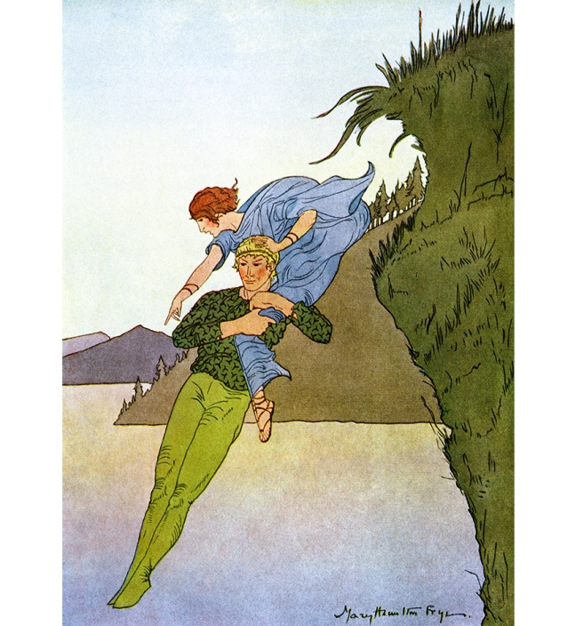 "Illustration:  ""The princess had just time to give one delighted shriek of laughter before the water closed over them.""     From the story ""The Light Princess.""  Fairy Tales Every Child Should Know.  Edited by: Hamilton Wright Mabie.  Illustrated and Decorated by: Mary Hamilton Fry.  George Sully & Company: New York. 1915."