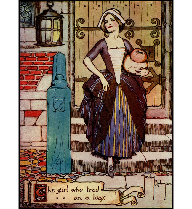 "Illustration:  ""The Girl who trod on a loaf.""  ""So the girl put on her best clothes and her newest shoes.""   .  Hans Andersen's Fairy Tales.  By William Woodburn.  Illustrated by Gordon Robinson.  W. & R. Chambers, Limited: London & Edinburgh. 1917."
