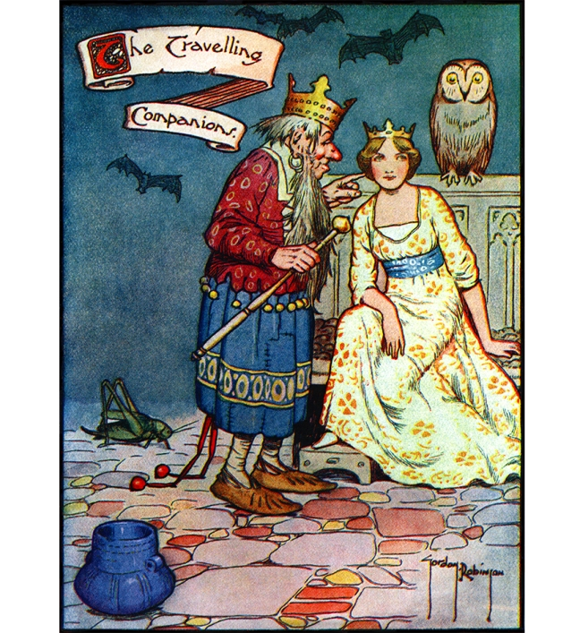 "Illustration:  ""Think of your own shoe.""  From the story ""The Traveling Companions.""  Hans Andersen's Fairy Tales.  By William Woodburn.  Illustrated by Gordon Robinson.  W. & R. Chambers, Limited: London & Edinburgh. 1917."