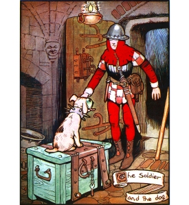 """Illustration: """"There sat the dog, with eyes as large as tea-cups."""" From the story """"The Tinder-Box."""" Hans Andersen's Fairy Tales. By William Woodburn. Illustrated by Gordon Robinson. W. & R. Chambers, Limited: London & Edinburgh. 1917."""
