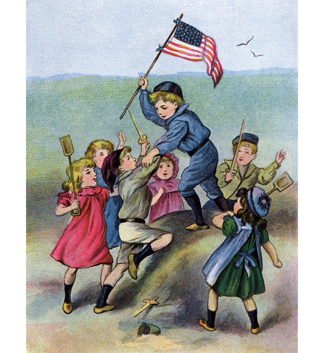 Illustration:  Holding Down The Fort.  Mary's Little Lamb.  Henry Altemus Company: Philadelphia. 1906.