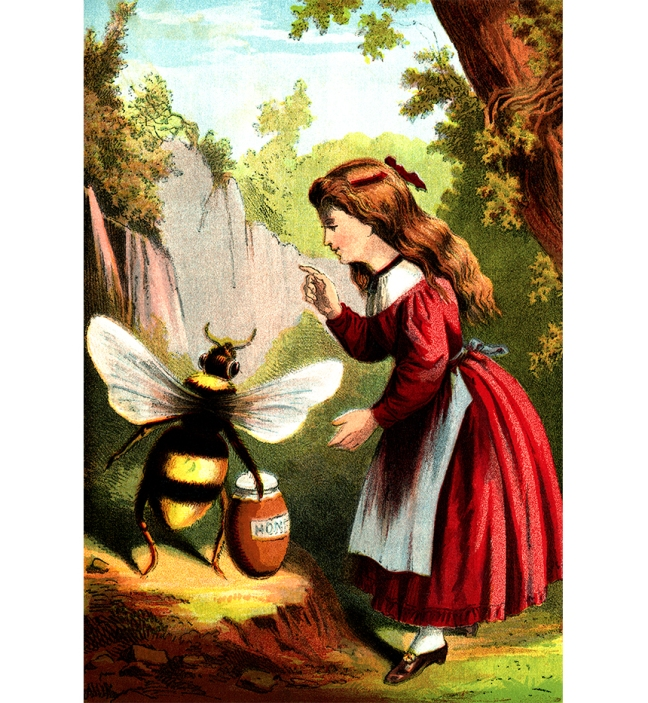 "Illustration:  ""Idle Hands Make Sad Hearts.""  NURSERY COLORED PICTURE BOOK.  McLOUGHLIN BROS.: NEW YORK. Ca 1870."