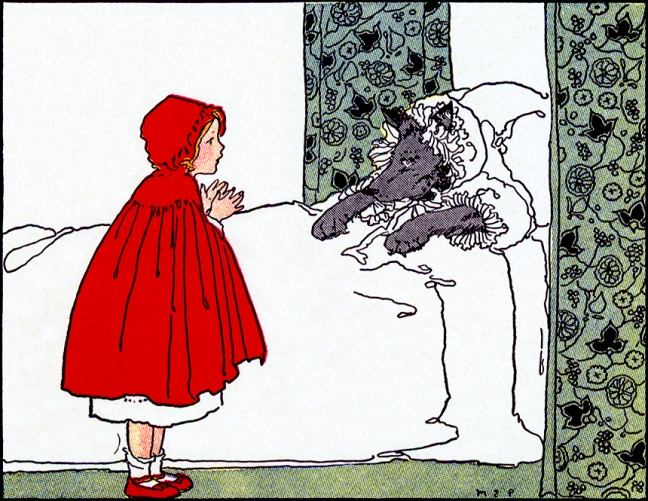 Illustration:   Little Red Riding Hood.  Once Upon a Time.  Edited by Katharine Lee Bates.  Illustrated by Margaret Evans Price.  Rand McNally & Company: Chicago & New York. 1921.