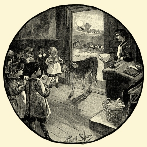 Illustration: Jenny's Cow. Tom Thumb and Other Stories. McLoughlin Brothers: New York. Ca 1904.