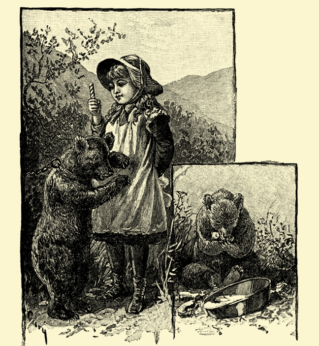 "Illustration:  A little cinnamon bear was one night prowling around a farmhouse in search of honey.  From the story ""NOSE TICKLERS.""  Tom Thumb and Other Stories.  McLoughlin Brothers: New York. Ca 1904."