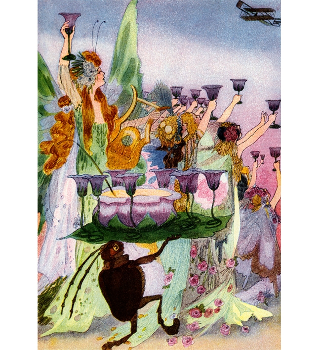Illustration:  Old Year's Departure.  A Year With the Fairies.  Written by Anna M. Scott.  Illustrations by M. T. (Penny) Ross.  P. F. Volland & Co.: Chicago, U.S.A. 1914.