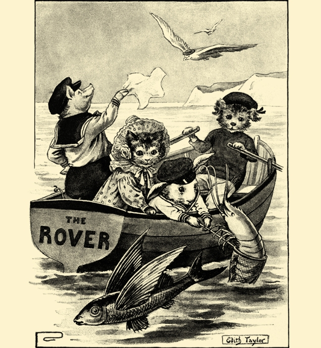 Illustration:  The Rover.  Animal Antics.  Louis Wain.  Illustration by Felix Leigh.  S. W. Partridge & Co: London. Ca 1900-1910.