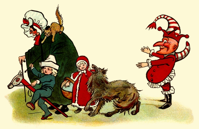 Illustration:  Then the guests entered all of a bunch,  And last, but not least, came Old Mr. Punch.  Dot's Picture Book.  Illustrations by: F. M. Barton, E. Heatly, N. Westrup & S. Carter.  Dean & Son, Ltd.: London. Ca 1908.