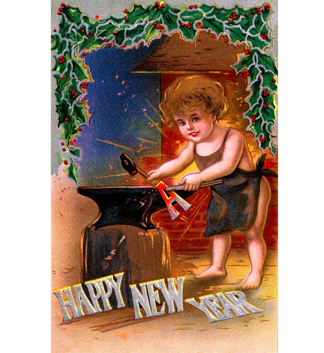Illustration:  Happy New Year  Postcard. CA 1908.