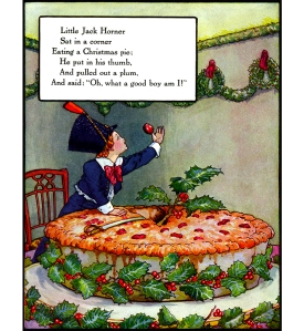Illustration: Little Jack Horner. Mother Goose - Volland Popular Edition. Edited by Eulalie Osgood Grover. Illustrated by Frederick Richardson. Published by P. F. Volland Company: New York, Chicago & Toronto. 1921.