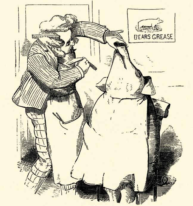 "Illustration:  ""Barber, Barber, Shave a Pig.""  Mother Goose's Nursery Rhymes.  McLoughlin Brothers: New York. Ca 1900."