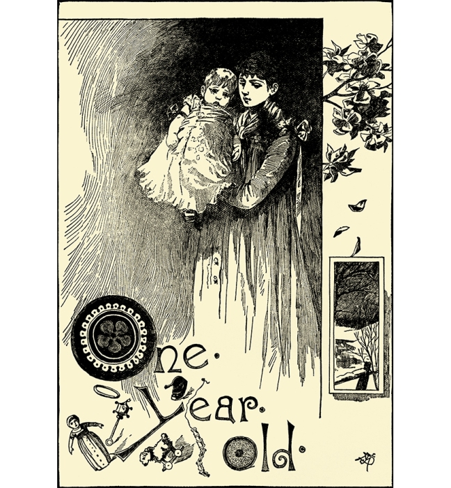 Illustration:  One Year Old.  Mother's Yellow Fairy Tale Book.  Arranged by Laura Dent Crane.  Henry Altemus Company: Philadelphia. 1905.