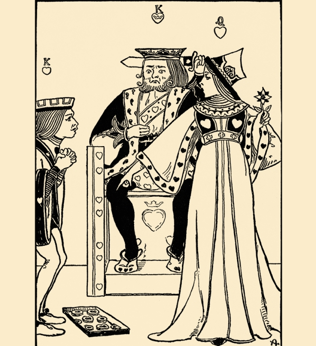 Illustration:  The Queen of Hearts  She made some tarts.     A Book of Nursery Rhymes.  Arranged by Charles Welsh.  Illustrated by Clara E. Atwood.  D. C. Heath & Co., Publishers: Boston, New York, Chicago. Ca 1901.
