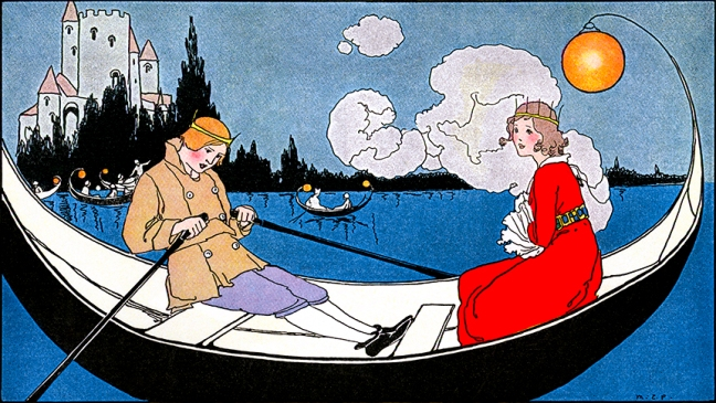 "Illustration:  From the story ""The Dancing Shoes.""  Once Upon a Time.  Edited by Katharine Lee Bates.  Illustrated by Margaret Evans Price.  Rand McNally & Company: Chicago & New York. 1921."