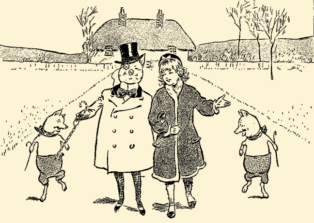 Illustration:  We Talked Pleasantly.  PETER PIPER'S PEEP SHOW or All the Fun of the Fair  Written by S. H. Hamer.  Illustrations by Lewis Baumer and Harry B. Neilson.  Cassell And Company, Ltd.: London, Paris, New York & Melbourne. 1906.
