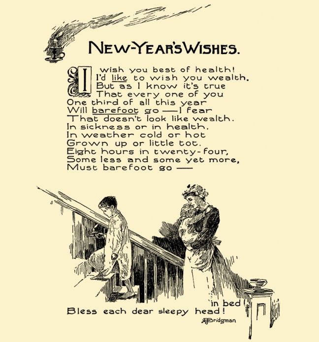 Illustration:  New-Year's Wishes.  Prattles For Our Boys and Girls.  Hurst & Co.: New York. 1912.