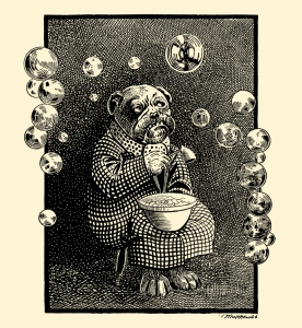 "Illustration: ""MR. BUBBLES."" Animal Antics By Louis Wain Illustration by Matthews. S. W. Partridge & Co: London. Ca 1900-1910."