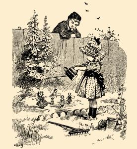 Illustration: A Strange Garden. Mother's Yellow Fairy Tale Book. Arranged by Laura Dent Crane. Henry Altemus Company: Philadelphia. CA 1905.