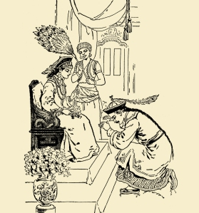 "Illustration: ALADDIN PAYS HIS RESPECTS TO THE PRINCESS. From the story ""Aladdin, Or The Wonderful Lamp."" Tom Thumb and Other Stories. McLoughlin Brothers: New York. Ca 1904."