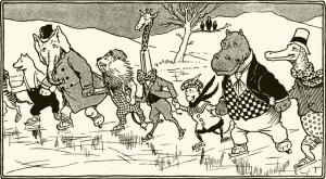 Illustration: The animals of Zoo-land 2 Animal Antics By Louis Wain Illustration by Matthews. S. W. Partridge & Co: London. Ca 1900-1910.